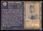 1953 Topps Who-Z-At Star #31  William Campbell  Back Thumbnail