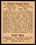 1940 Play Ball #17  Buddy Myer  Back Thumbnail