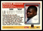 1995 Topps #417  Donnell Bennett  Back Thumbnail