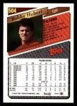 1993 Topps #504  Bobby Hebert  Back Thumbnail