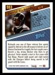 1993 Topps #553  David Richards  Back Thumbnail
