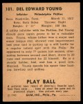 1940 Play Ball #101  Del Young  Back Thumbnail
