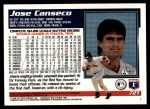 1995 Topps Traded #72 T Jose Canseco  Back Thumbnail