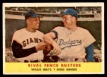 1958 Topps #436   -  Willie Mays / Duke Snider Rival Fence Busters Front Thumbnail