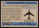 1957 Topps Planes #8 BLU  Ad-6 Skyraider Back Thumbnail