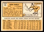 1963 Topps #105 xSTR Ron Fairly  Back Thumbnail