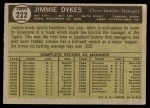 1961 Topps #222  Jimmy Dykes  Back Thumbnail
