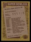 1986 Topps #8   Super Bowl XX Back Thumbnail
