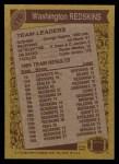 1986 Topps #170   -  George Rogers / Art Monk / Vernon Dean / Curtis Jordan / Dexter Manley  Washington Redskins Leaders Back Thumbnail
