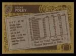 1986 Topps #123  Steve Foley  Back Thumbnail