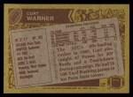 1986 Topps #202  Curt Warner  Back Thumbnail