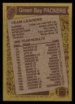 1986 Topps #213   Packers Leaders Back Thumbnail