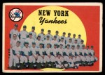 1959 Topps #510   Yankees Team Checklist Front Thumbnail