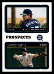 2005 Topps #688   -  Felix Hernandez / Justin Leone Red Sox Prospects   Front Thumbnail