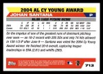 2005 Topps #713  Johan Santana  Back Thumbnail