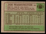 1984 Topps #393  Joe Washington  Back Thumbnail