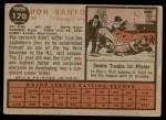 1962 Topps #170 GRN Ron Santo  Back Thumbnail