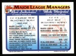 1993 Topps #505   -  Mike Hargrove / Rene Lachemann Managers Back Thumbnail