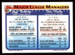 1993 Topps #509   -  Tom Kelly / Jeff Torborg Managers Back Thumbnail