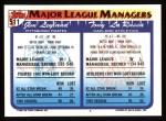 1993 Topps #511   -  Tony La Russa / Jim Leyland Managers Back Thumbnail