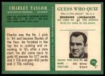 1966 Philadelphia #194  Charley Taylor  Back Thumbnail