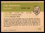 1961 Fleer #79  Jim Ninowski  Back Thumbnail