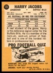 1967 Topps #23  Harry Jacobs  Back Thumbnail