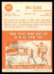 1963 Topps #20  Bill Glass  Back Thumbnail