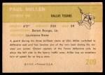 1961 Fleer #209  Paul Miller  Back Thumbnail