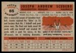 1956 Topps #85  Joe Scudero  Back Thumbnail