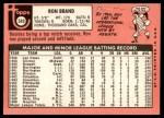 1969 Topps #549  Ron Brand  Back Thumbnail