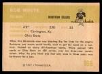 1961 Fleer #168  Bob White  Back Thumbnail