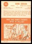 1963 Topps #93  Hank Jordan  Back Thumbnail