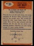 1955 Bowman #21  Lee Riley  Back Thumbnail