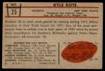 1953 Bowman #25  Kyle Rote  Back Thumbnail
