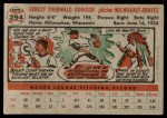 1956 Topps #294  Ernie Johnson  Back Thumbnail