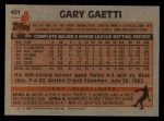 1983 Topps #431  Gary Gaetti  Back Thumbnail