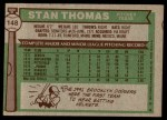 1976 Topps #148  Stan Thomas  Back Thumbnail