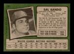 1971 Topps #285  Sal Bando  Back Thumbnail