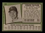 1971 Topps #606  Chuck Taylor  Back Thumbnail