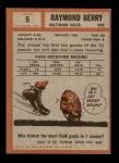1962 Topps #5  Raymond Berry  Back Thumbnail