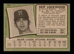1971 Topps #433  Skip Lockwood  Back Thumbnail