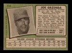 1971 Topps #518  Joe Grzenda  Back Thumbnail