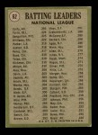 1971 Topps #62   -  Rico Carty / Manny Sanguillen / Joe Torre NL Batting Leaders  Back Thumbnail
