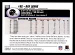 2004 Topps #188  Ray Lewis  Back Thumbnail