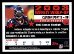 2004 Topps #304   -  Clinton Portis Weekly Wrap-Up Back Thumbnail