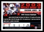 2004 Topps #309   -  Edgerrin James Weekly Wrap-Up Back Thumbnail