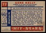 1957 Topps Hit Stars #77  Gene Kelly   Back Thumbnail