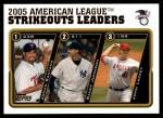 2005 Topps Update #140   -  Johan Santana / Randy Johnson / John Lackey AL Strikeout Leaders Front Thumbnail