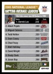 2005 Topps Update #142   -  Carlos Lee / Albert Pujols / Miguel Cabrera NL Batting Average Leaders Back Thumbnail